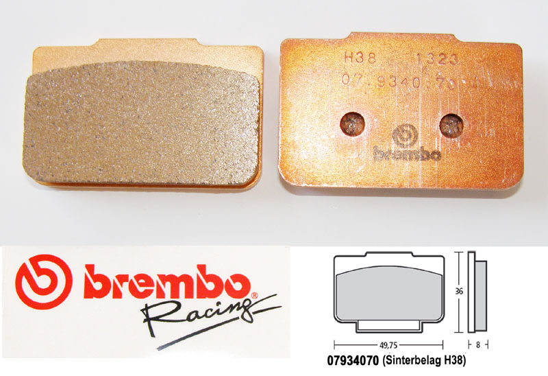 Brembo Racing-Brake Pads Sinter, rear, 07934070