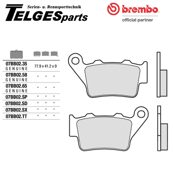 07BB02SP Brembo Brake Pad - SP Sinter Road rear