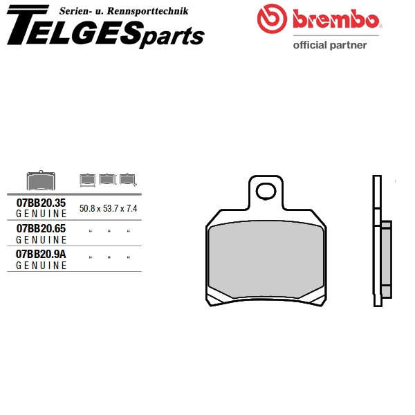 07BB20SP Brembo Brake Pad - Sinter rear