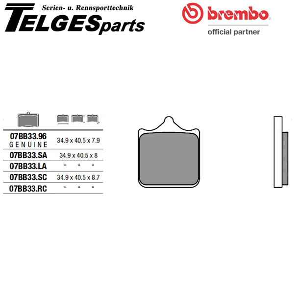 07BB33LA Brembo Brake Pad - LA Sinter Road front
