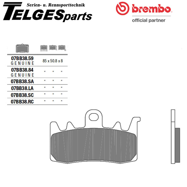 07BB38LA Brembo Brake Pad - LA Sinter Road