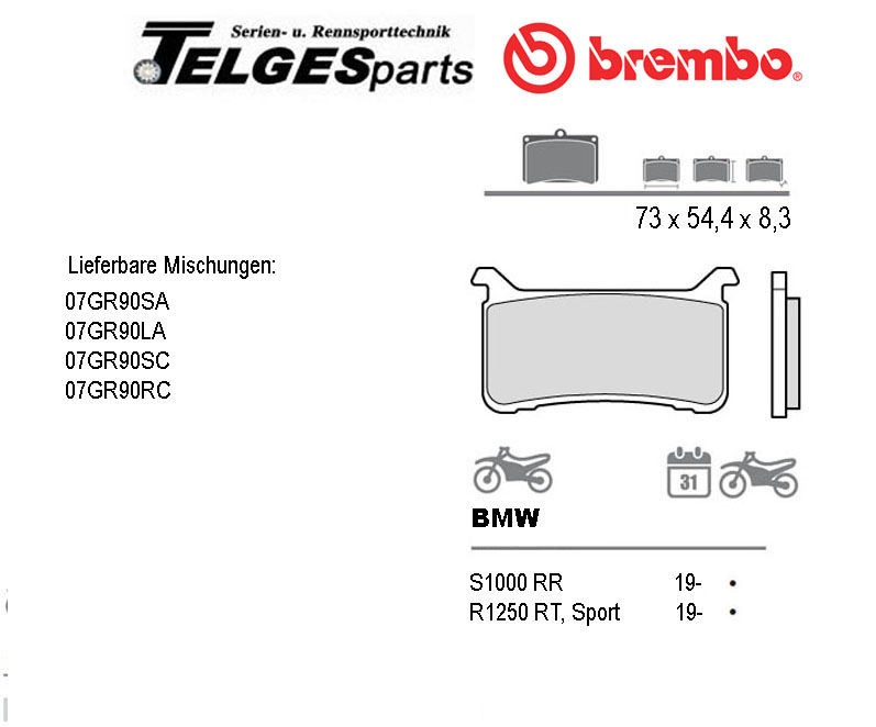 07GR90SC Brembo Brake Pad - SC Sinter Race