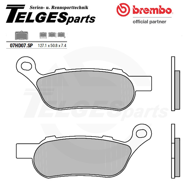 07HD07SP Brembo Brake Pad - Sintered, rear