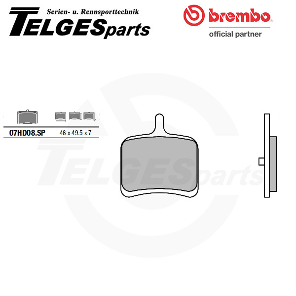 07HD08SP Brembo Brake Pad - Sintered, rear