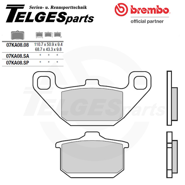 07KA08SP Brembo Brake Pad - Sintered, rear