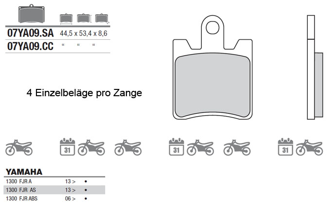Brake Pads 07YA     - TELGESparts - Brembo Motorrad