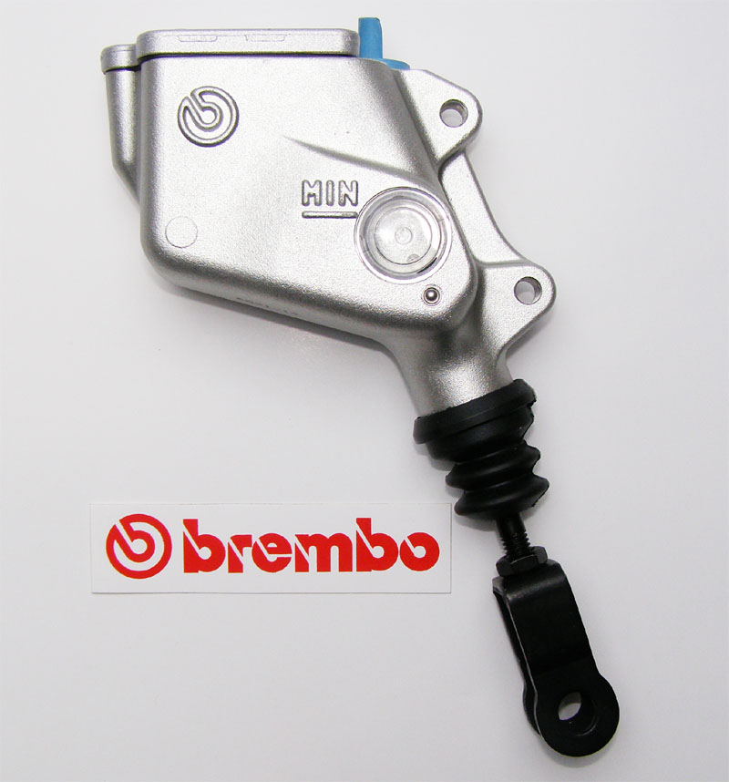 10850511 Brembo rear master cylinder PS 13, silver, with reserv.