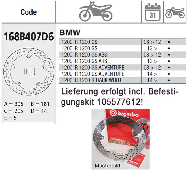 Brembo Brake Disc Performance Serie Oro 168B407D6, vorne