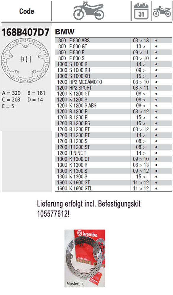 Brembo Brake Disc Performance Serie Oro 168B407D7, vorne