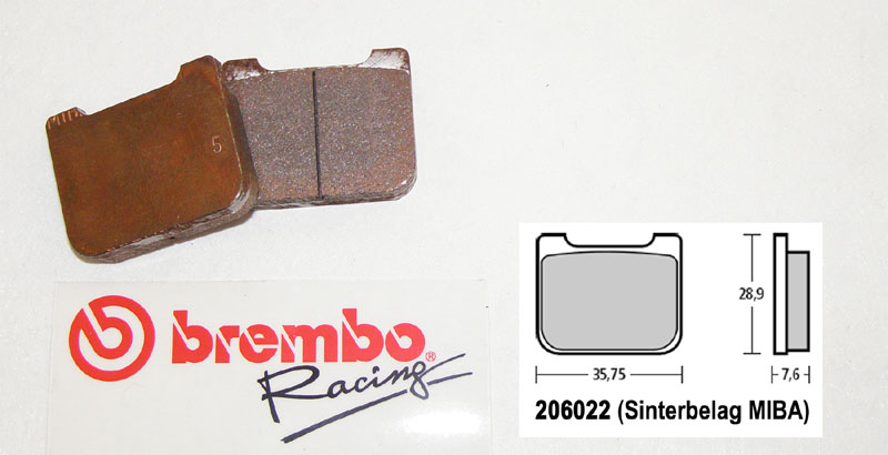 Brembo Racing-Brake Pads Sinter, rear, 206022