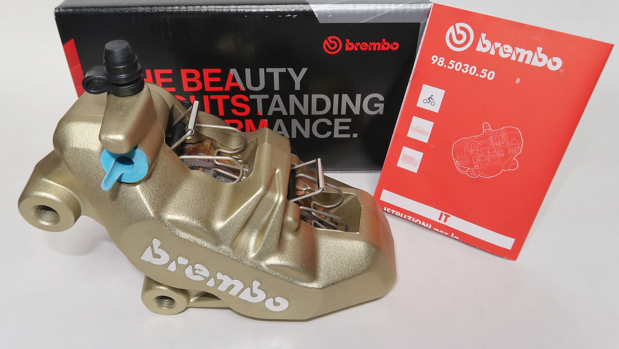 Brembo Caliper P4 34/34, gold, left side