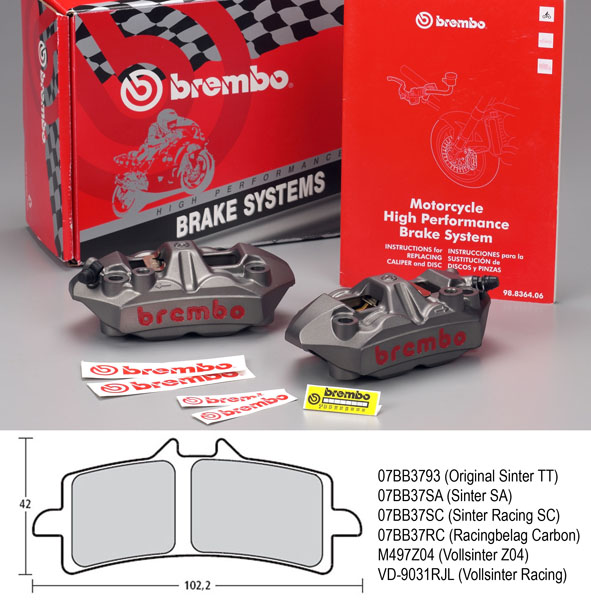 Radial M4 Monoblock Calipers Original Brembo, 108 mm Kit le/ri