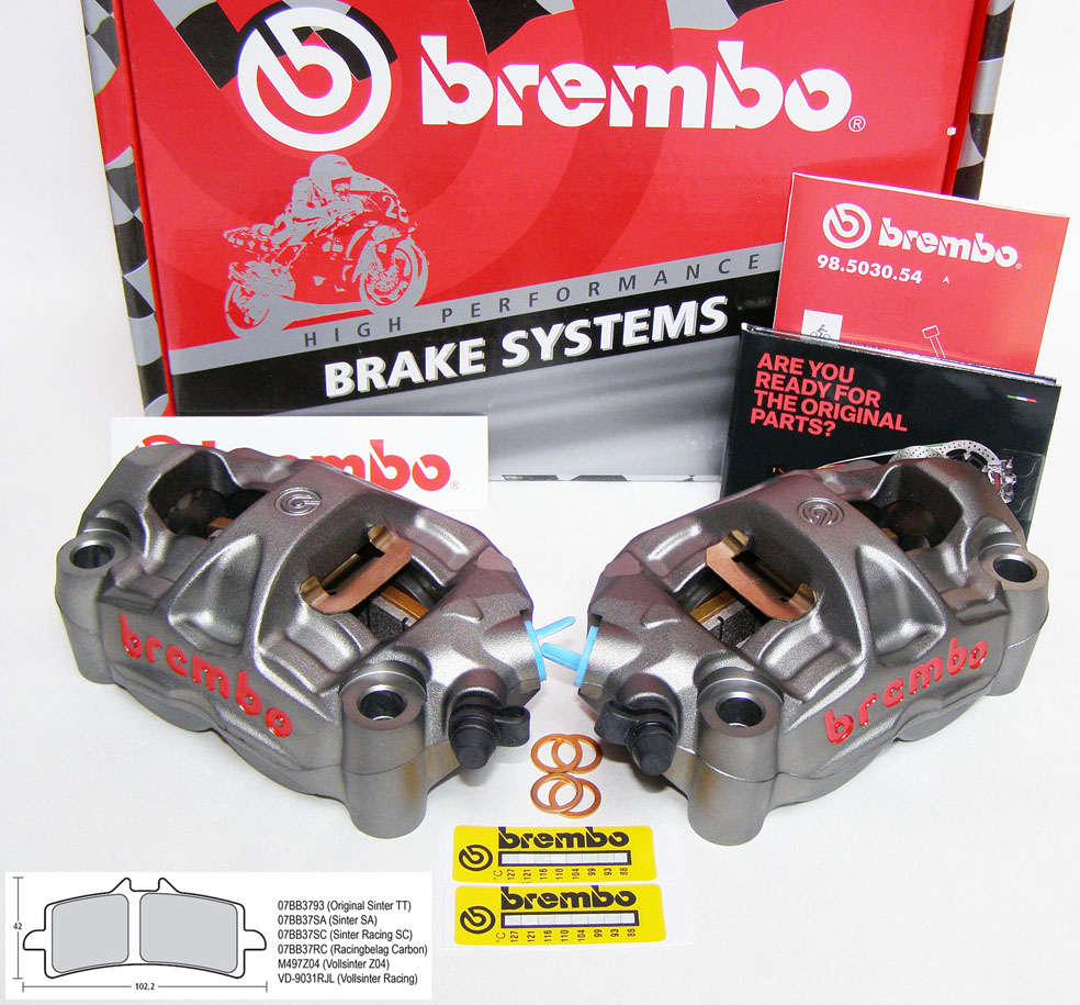 radial m50 monoblock bremszangen orig brembo 100 mm kit. Black Bedroom Furniture Sets. Home Design Ideas
