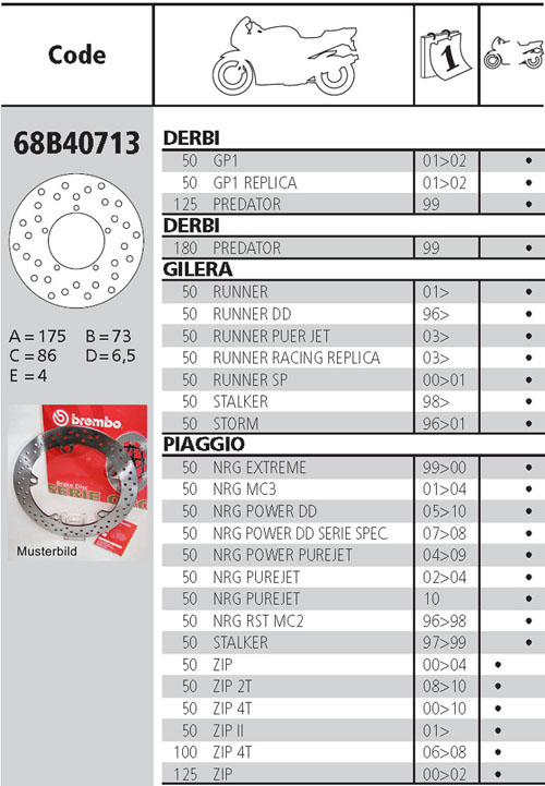Brembo Brake Disc Performance Serie Oro 68B40713