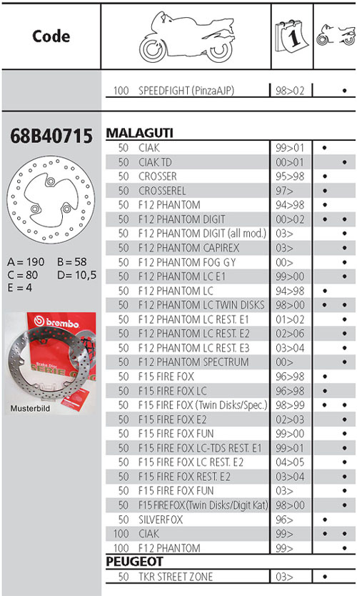 Brembo Brake Disc Performance Serie Oro 68B40715