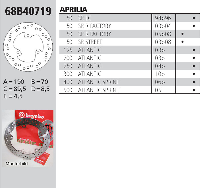 Brembo Brake Disc Performance Serie Oro 68B40719