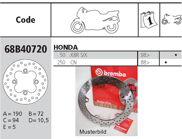 Brembo Brake Disc Performance Serie Oro 68B40720