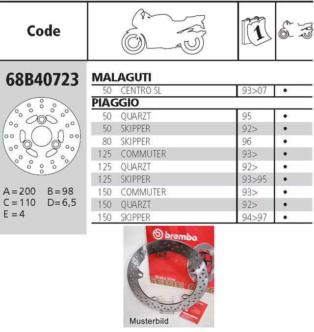 Brembo Brake Disc Performance Serie Oro 68B40723, front
