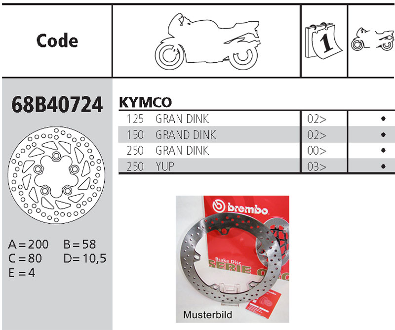 Brembo Brake Disc Performance Serie Oro 68B40724, rear