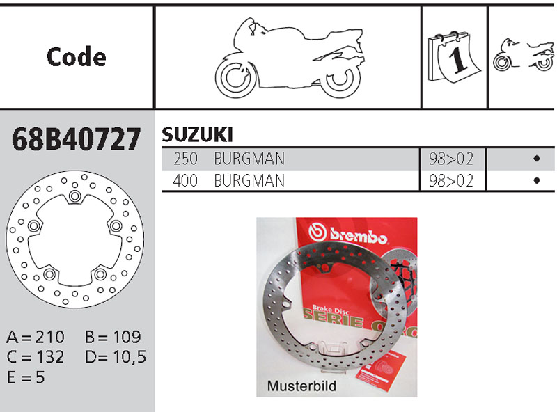 Brembo Brake Disc Performance Serie Oro 68B40727, rear