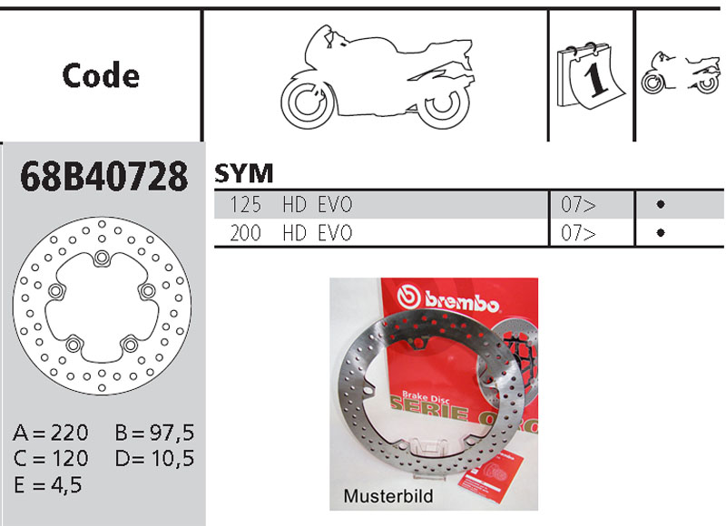 Brembo Brake Disc Performance Serie Oro 68B40728