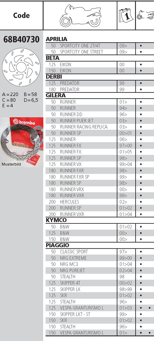 Brembo Brake Disc Performance Serie Oro 68B40730, front