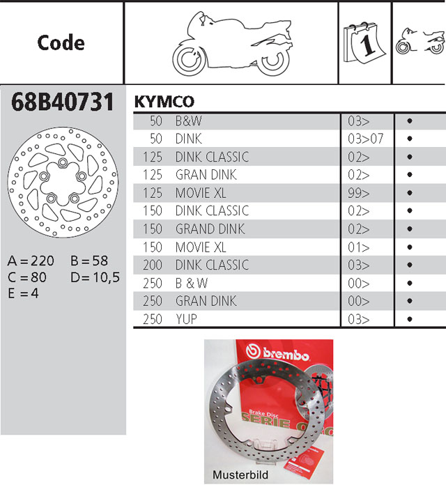 Brembo Brake Disc Performance Serie Oro 68B40731, front