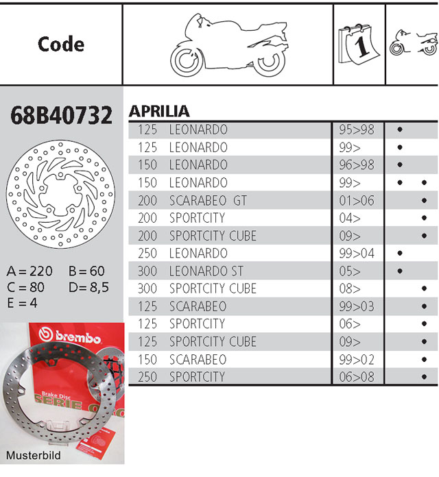 Brembo Brake Disc Performance Serie Oro 68B40732