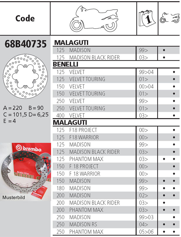 Brembo Brake Disc Performance Serie Oro 68B40735