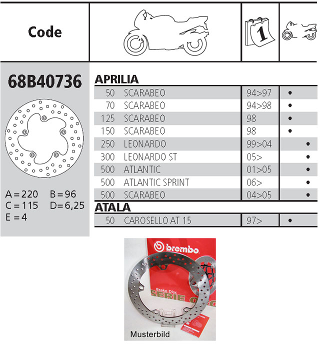 Brembo Brake Disc Performance Serie Oro 68B40736