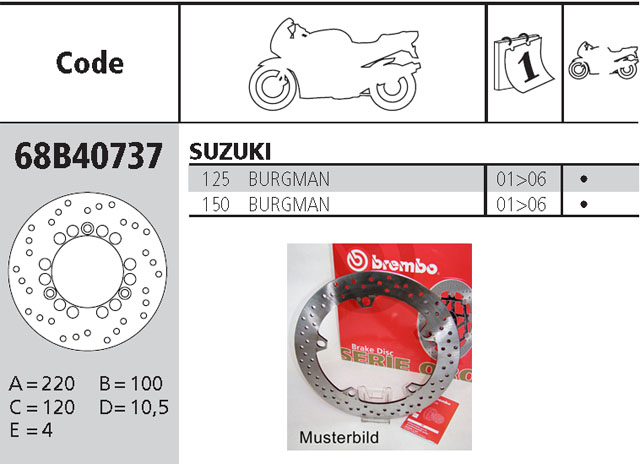 Brembo Brake Disc Performance Serie Oro 68B40737, front