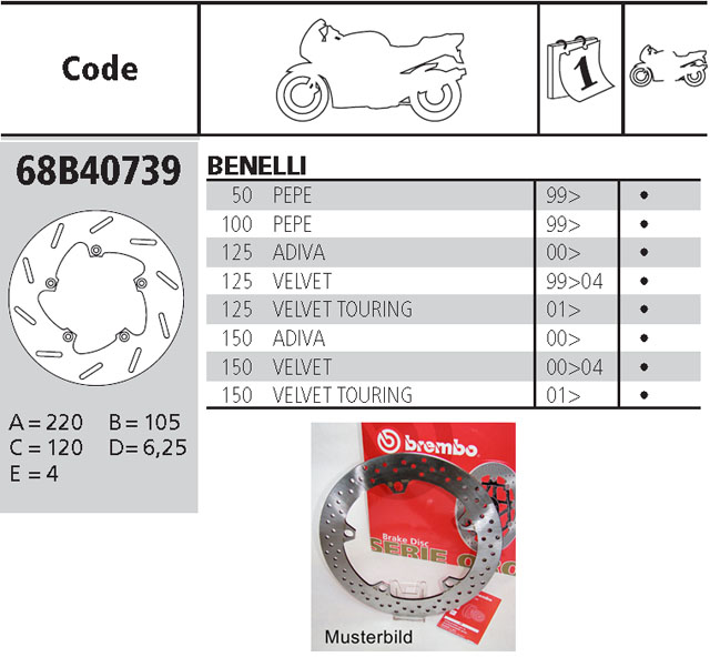 Brembo Brake Disc Performance Serie Oro 68B40739, front