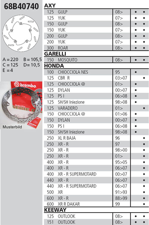 Brembo Brake Disc Performance Serie Oro 68B40740