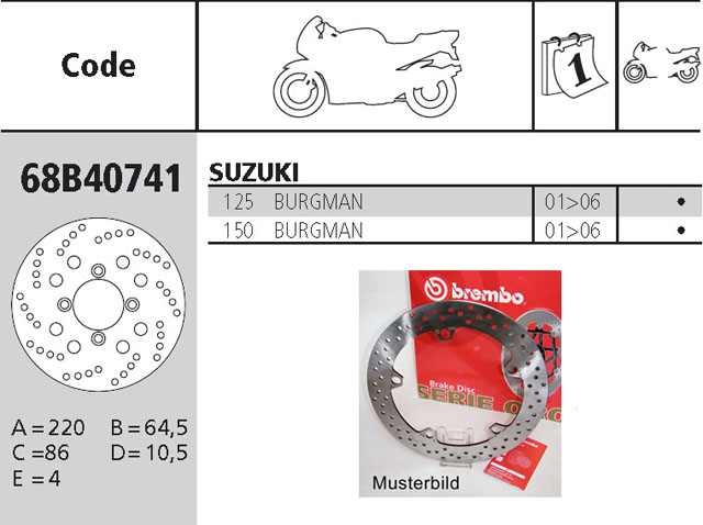 Brembo Brake Disc Performance Serie Oro 68B40741, rear