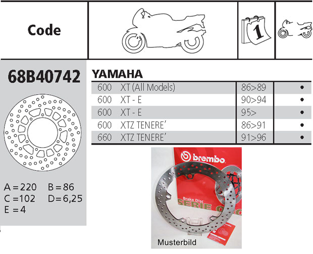 Brembo Brake Disc Performance Serie Oro 68B40742, rear