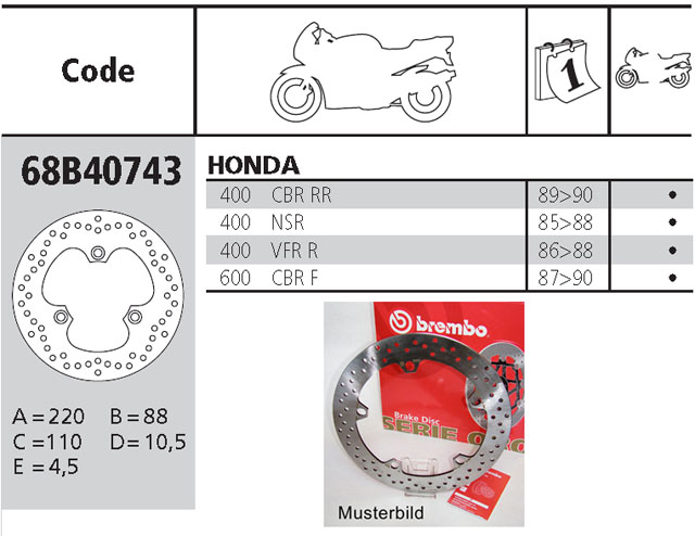 Brembo Brake Disc Performance Serie Oro 68B40743, rear