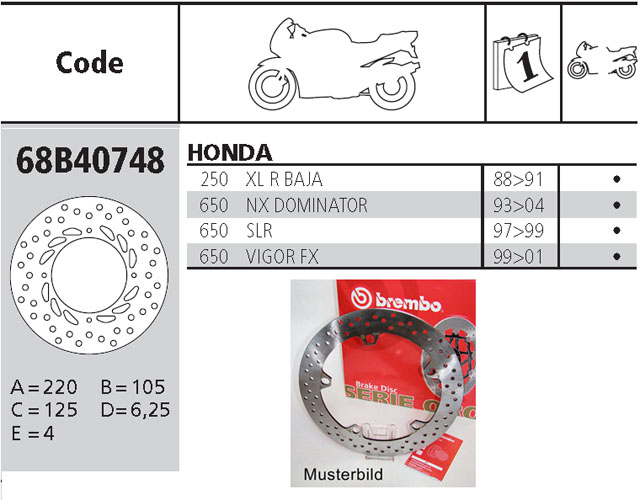 Brembo Brake Disc Performance Serie Oro 68B40748, rear