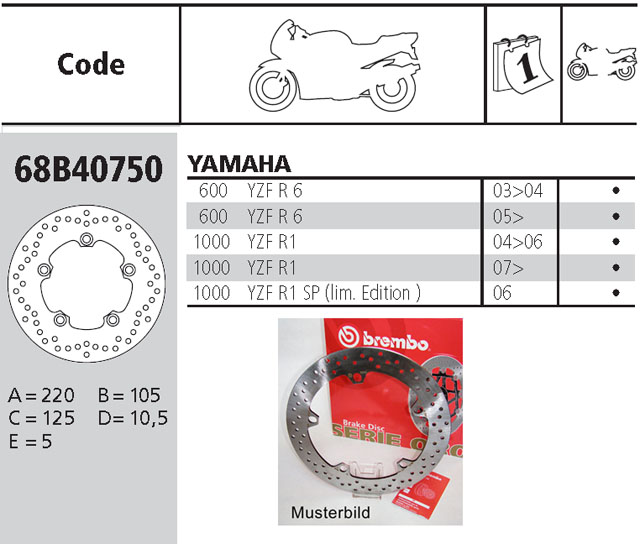 Brembo Brake Disc Performance Serie Oro 68B40750, rear