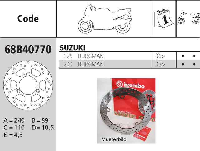 Brembo Bremsscheibe Performance Serie Oro 68B40770