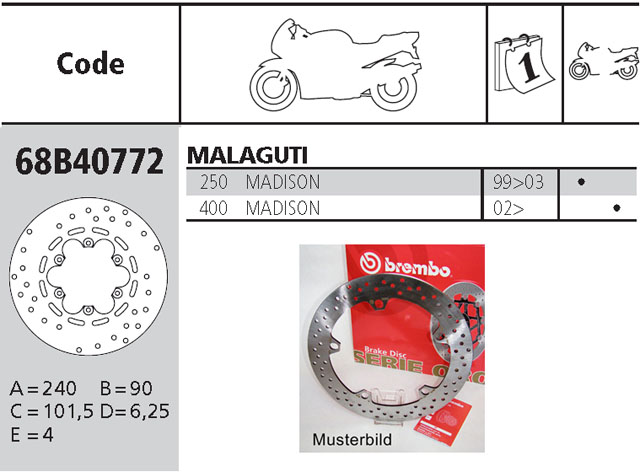 Brembo Bremsscheibe Performance Serie Oro 68B40772