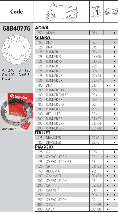 Brembo Bremsscheibe Performance Serie Oro 68B40776