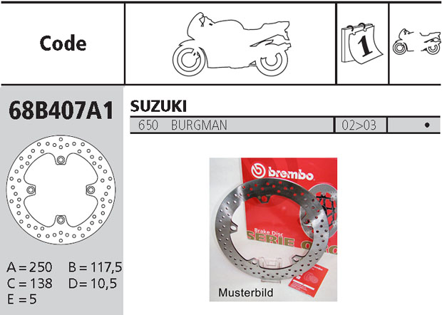 Brembo Brake Disc Performance Serie Oro 68B407A1, rear