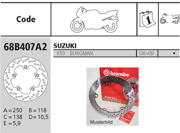 Brembo Brake Disc Performance Serie Oro 68B407A2, rear