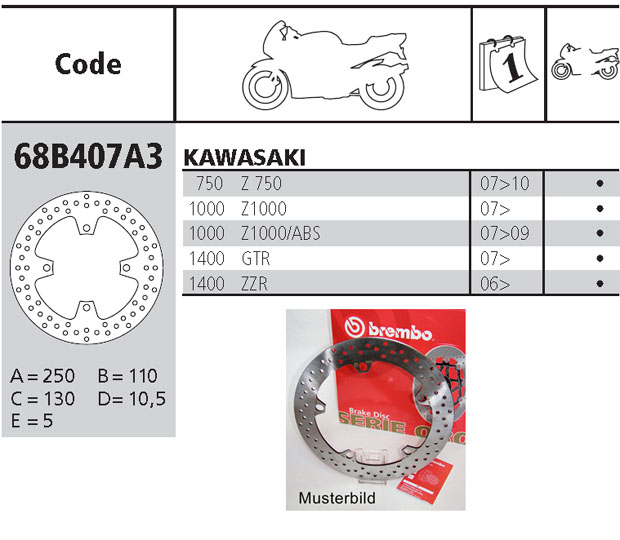 Brembo Brake Disc Performance Serie Oro 68B407A3, rear