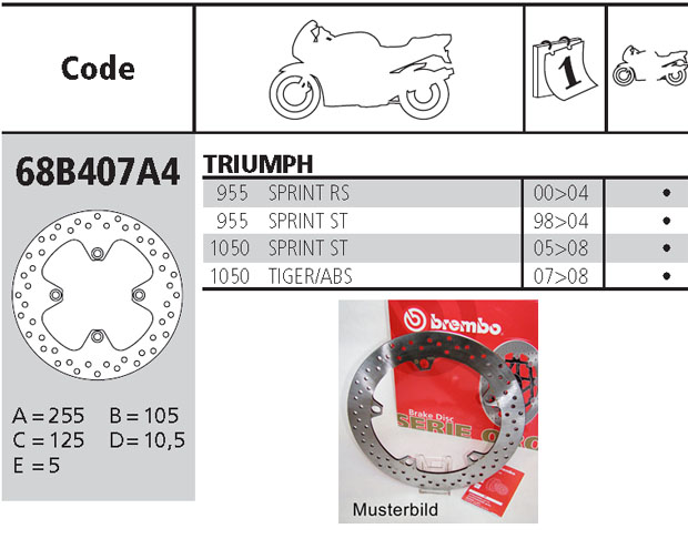Brembo Brake Disc Performance Serie Oro 68B407A4, rear