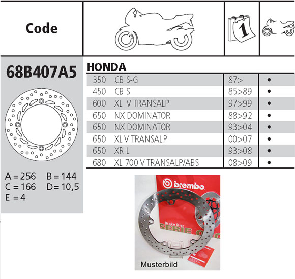 Brembo Brake Disc Performance Serie Oro 68B407A5, front