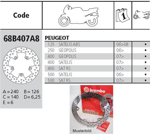Brembo Brake Disc Performance Serie Oro 68B407A8, rear