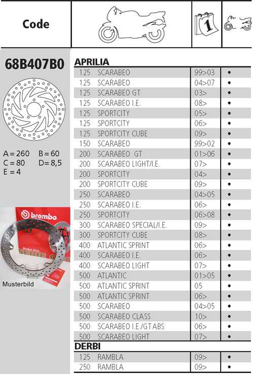 Brembo Brake Disc Performance Serie Oro 68B407B0, front