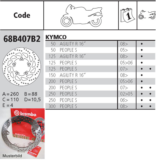 Brembo Brake Disc Performance Serie Oro 68B407B2