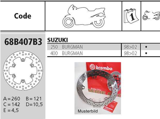 Brembo Brake Disc Performance Serie Oro 68B407B3, front